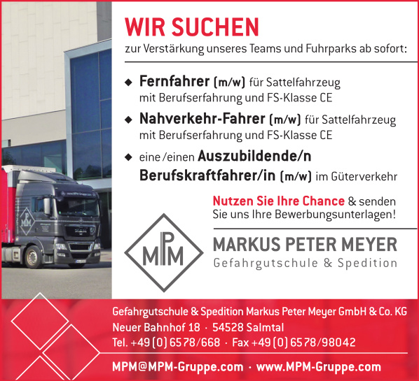 Stellenangebot MPM-Gruppe